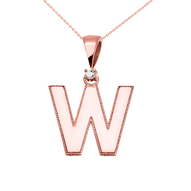 "Rose Gold High Polish Milgrain Solitaire Diamond ""W"" Initial Pendant Necklace"