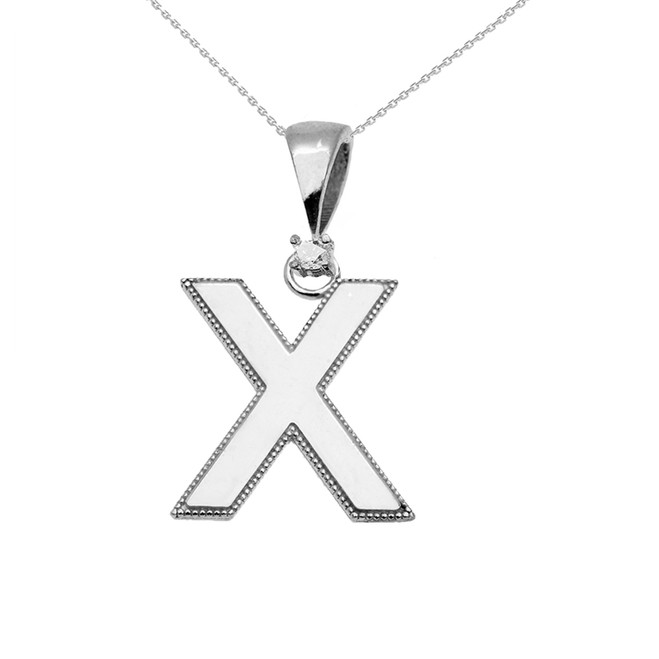 "White Gold High Polish Milgrain Solitaire Diamond ""X"" Initial Pendant Necklace"