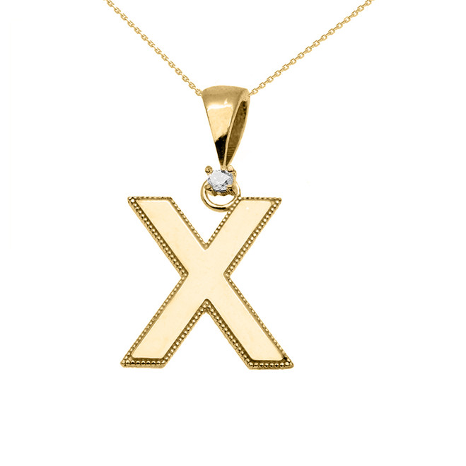 "Yellow Gold High Polish Milgrain Solitaire Diamond ""X"" Initial Pendant Necklace"