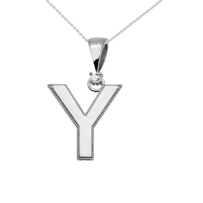 "White Gold High Polish Milgrain Solitaire Diamond ""Y"" Initial Pendant Necklace"