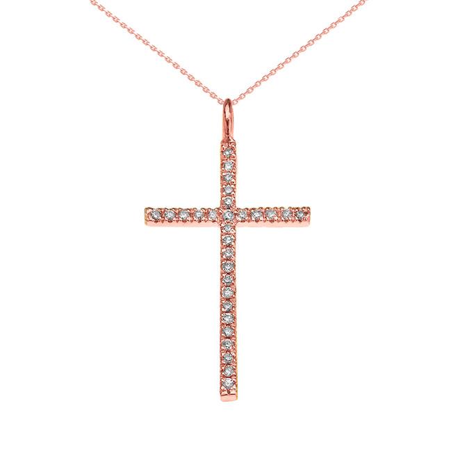 Rose Gold Dainty Diamond Cross Pendant Necklace
