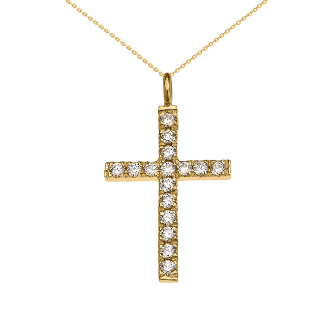 Elegant Yellow Gold Diamond Cross Pendant Necklace