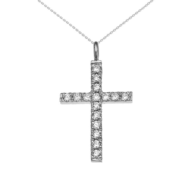 Elegant White Gold Diamond Cross Pendant Necklace