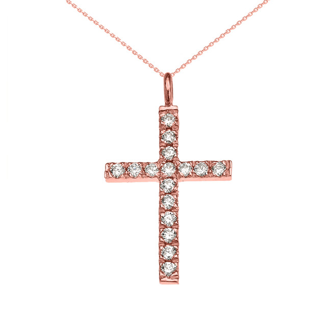 Elegant Rose Gold Diamond Cross Pendant Necklace