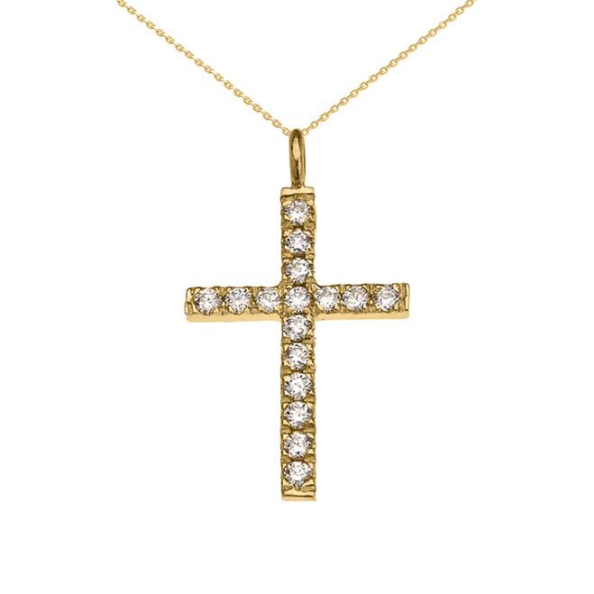 Elegant Yellow Gold Cubic Zirconia Cross Pendant Necklace