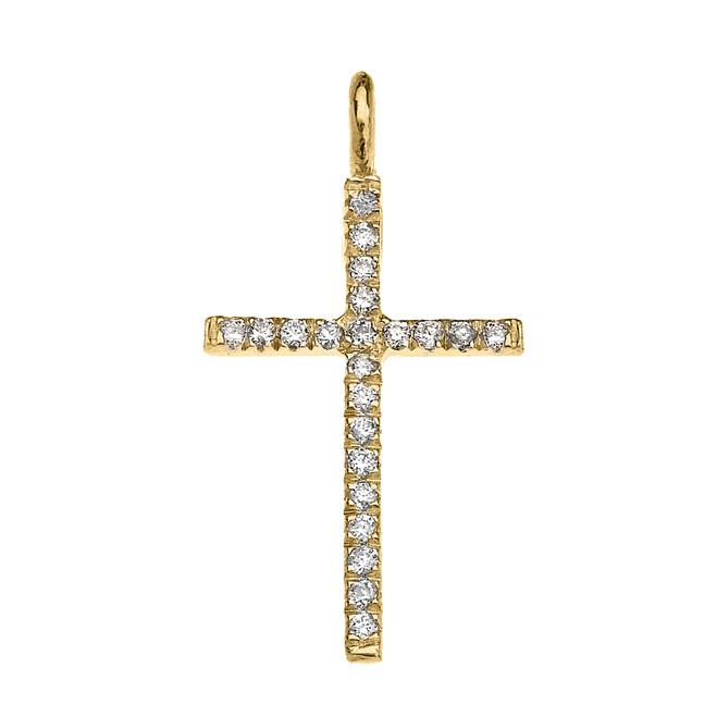 Yellow Gold Diamond Fine Cross Pendant Necklace