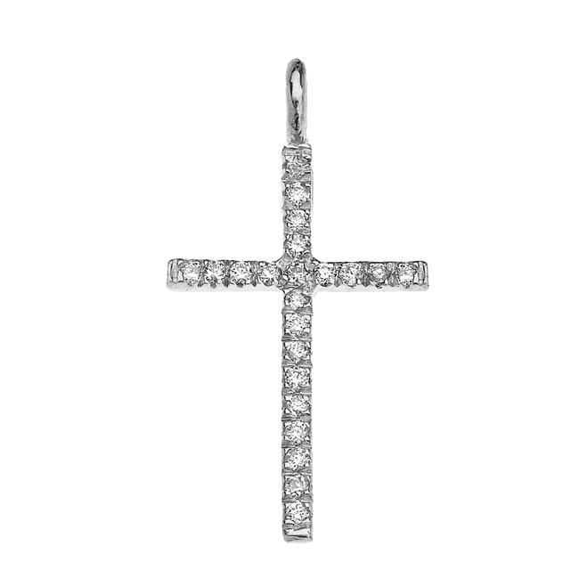 White Gold Diamond Fine Cross Pendant Necklace