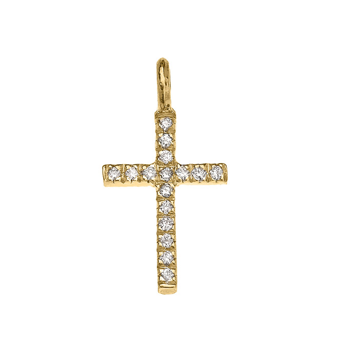 Yellow Gold Cubic Zirconia Cross Charm Pendant Necklace