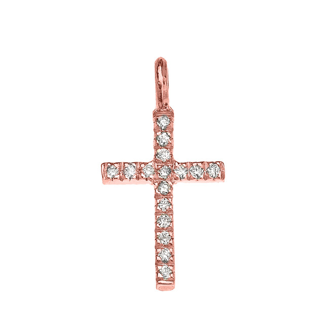 Rose Gold Diamond Cross Charm Pendant Necklace