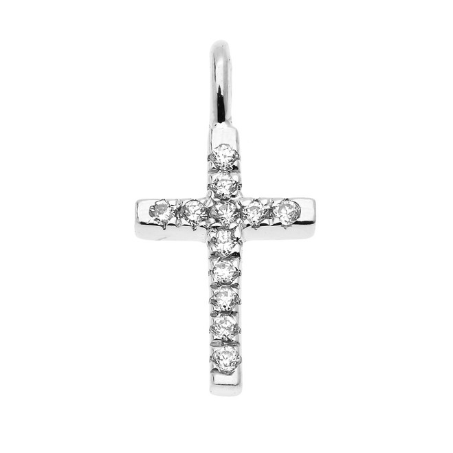 Dainty White Gold Diamond Cross Charm Pendant Necklace