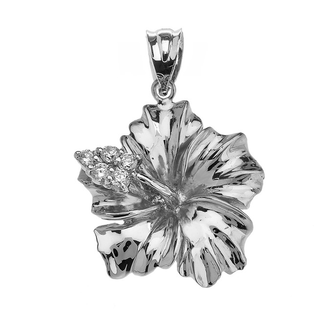 Sterling Silver Caribbean Hibiscus (Malvaceae) Cubic Zirconia Pendant Necklace