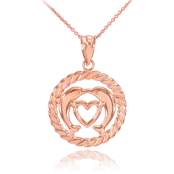 Rose Gold Heart Kissing Dolphins in Circle Rope Pendant Necklace