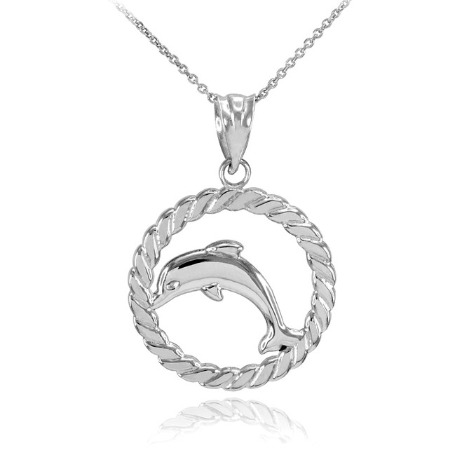 White Gold Jumping Dolphin in Circle Rope Pendant Necklace