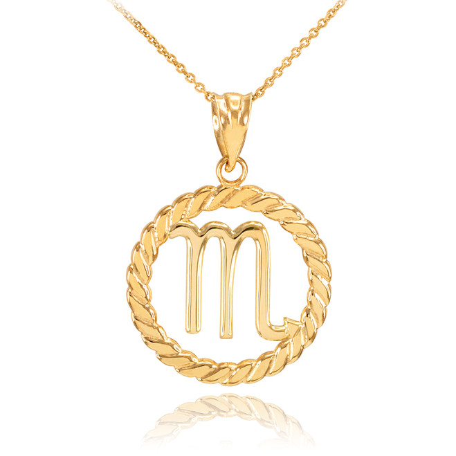 Gold Scorpio Zodiac Sign in Circle Rope Pendant Necklace