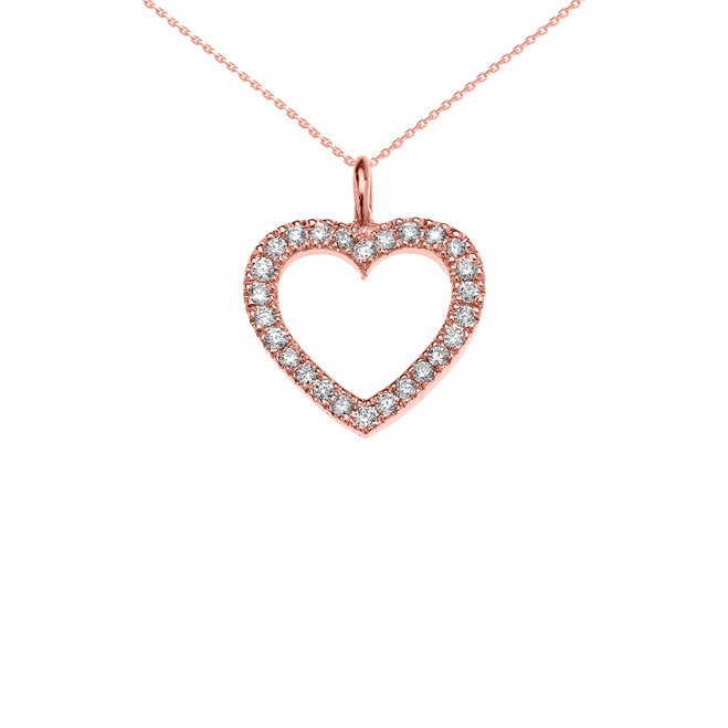 14K Rose Gold Open Heart  Diamond Dainty Pendant Necklace