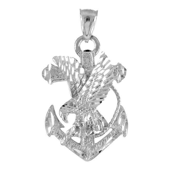 White Gold Anchor Eagle Diamond Cut Pendant