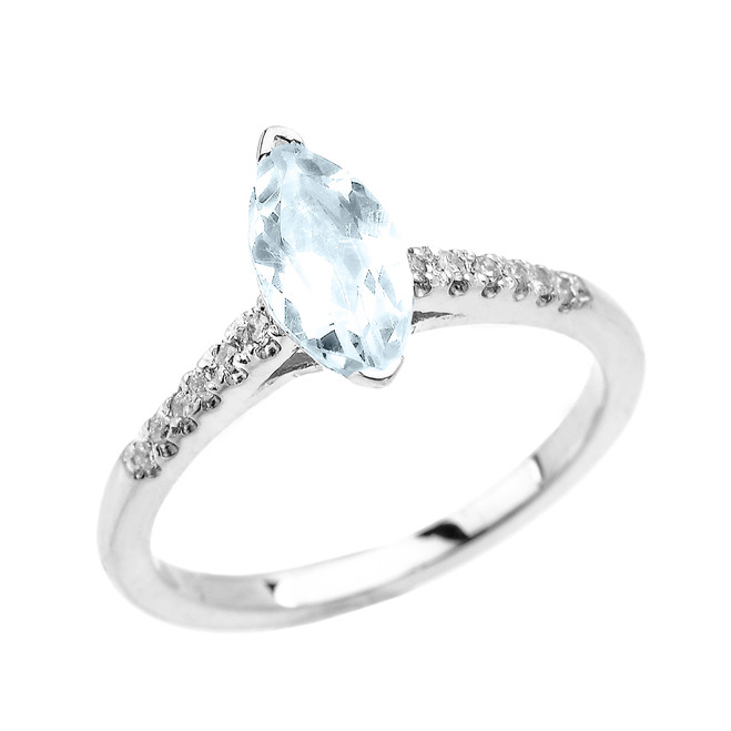 White Gold Dainty Marquise Aquamarine  and Diamond Proposal Ring