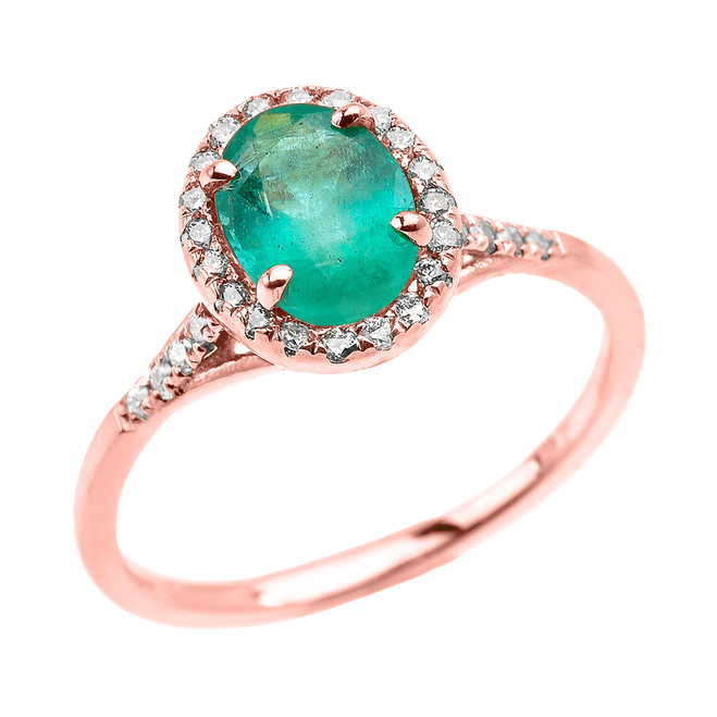 Rose Gold Halo Solitaire Zambian Emerald and Diamond Proposal Ring