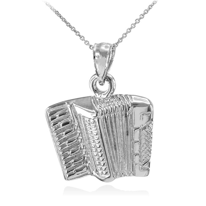 Solid 925 Sterling Silver Music Accordion Pendant Necklace