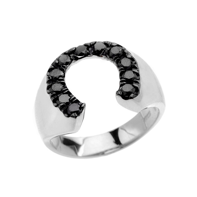 Sterling Silver Black Cubic Zirconia Horseshoe Lucky Men's Ring