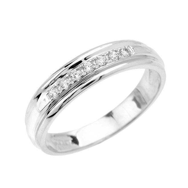 Men's Diamond Accent Wedding Band in White Gold