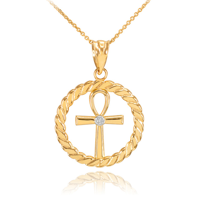 Gold Roped Circle Egyptian Ankh Cross with Diamond Pendant Necklace