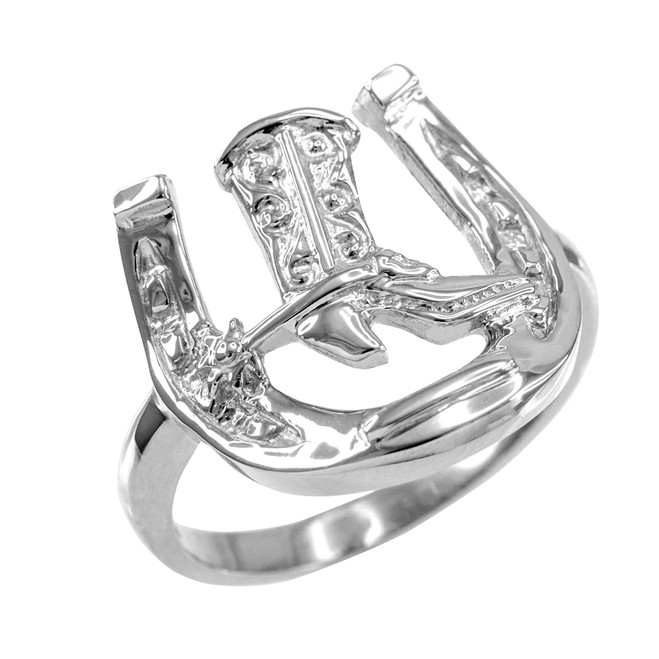 Silver Horseshoe with Cowboy Boot Men's Ring