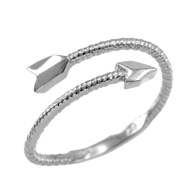 White Gold Arrow Wrap Ring for Women
