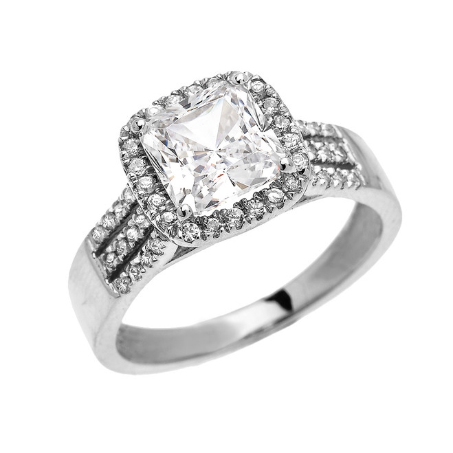 Elegant White Gold 3 Carat Princess Cut CZ Micro-Pave Halo Solitaire Ring