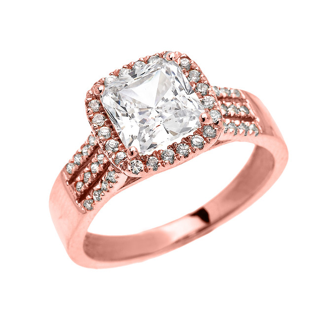 Rose Gold 3 Carat Princess Cut CZ Micro-Pave Halo Solitaire Ring