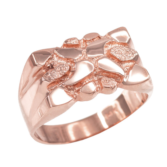 High Polish Rose Gold Textured Nugget Ring for Men