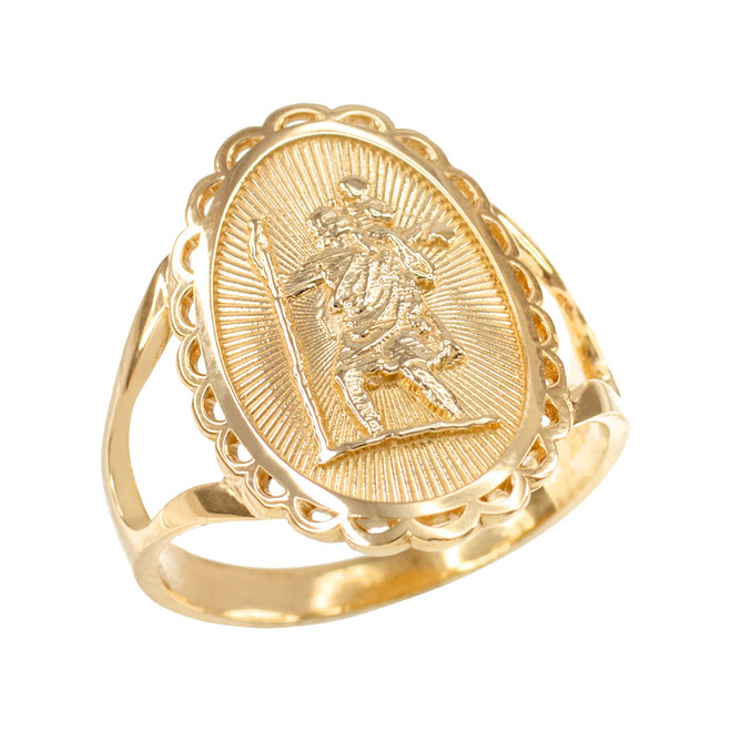 Gold Saint Christopher Oval Women's Ring