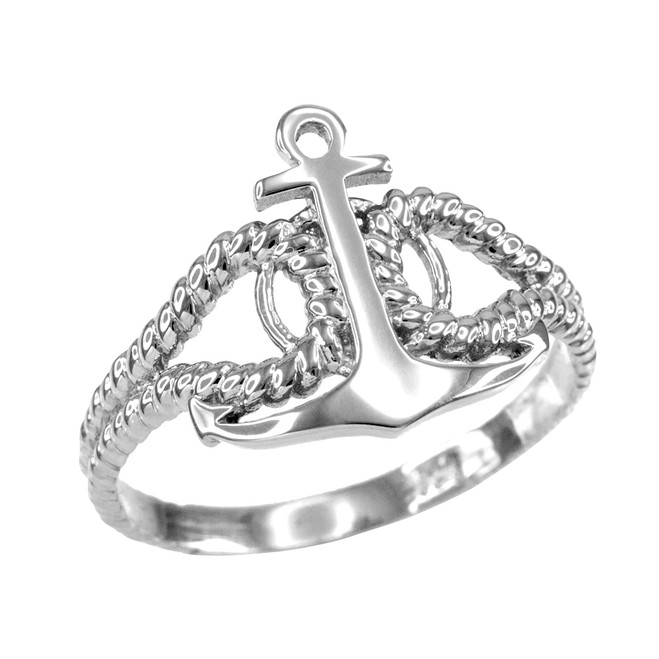 Ladies Sterling Silver Fouled Anchor Ring