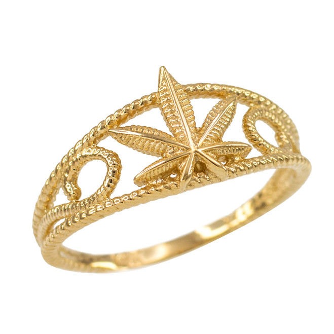 Women's Gold Textured Filigree Weed Marijuana Leaf Ring