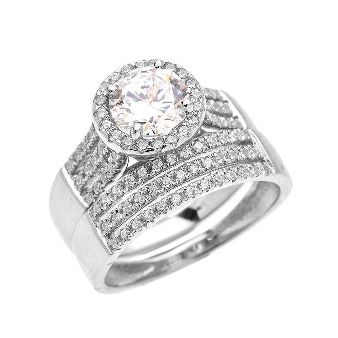 Elegant White Gold Micro Pave 3 Carat Round Halo Solitaire CZ Engagement Wedding Ring Set