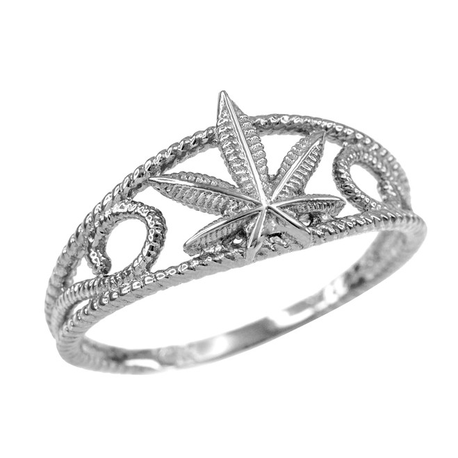 Women's White Gold Textured Filigree Weed Marijuana Leaf Ring