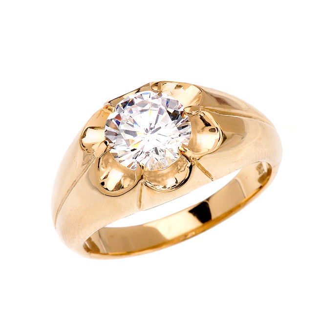Men's Yellow Gold 4 Carat Cubic Zirconia Bold Solitaire Ring