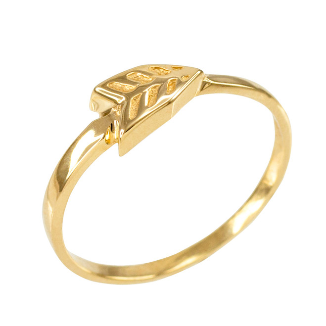Polished Gold Arrow Ring for Women