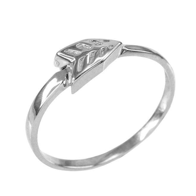 Polished White Gold Arrow Ring for Women