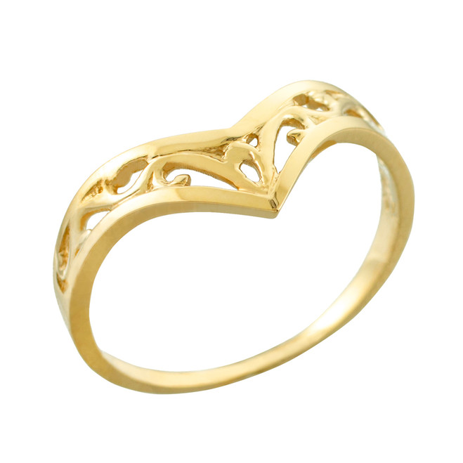 Fine Yellow Gold Filigree Chevron Ring for Women