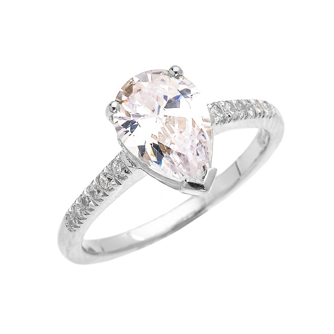 White Gold Dainty Pear Shape Cubic Zirconia Solitaire Proposal Ring
