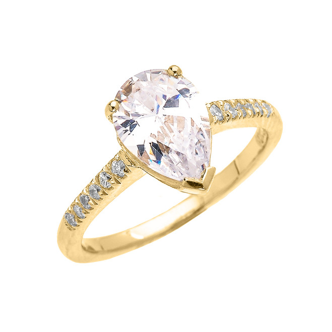 Yellow Gold Dainty Pear Shape Cubic Zirconia Solitaire Proposal Ring
