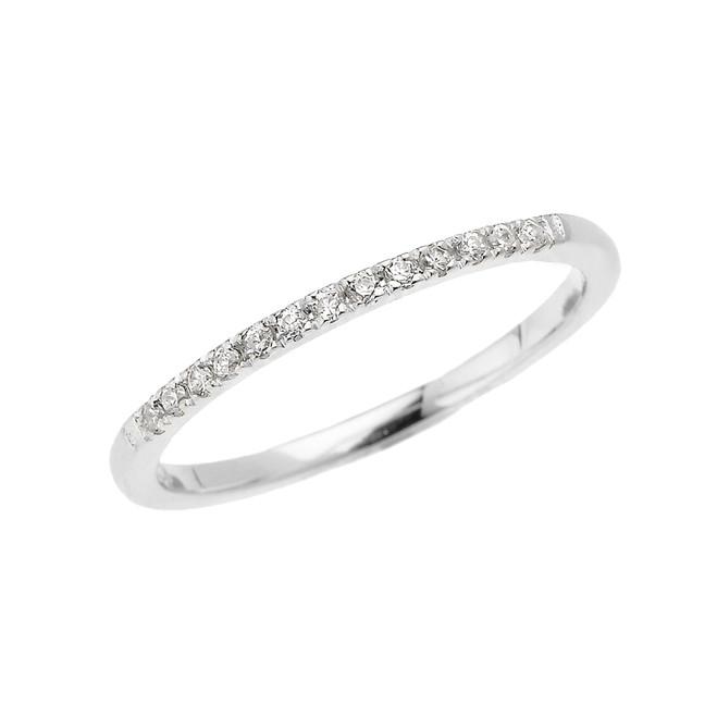 White Gold Elegant Diamond Wedding Band Ring