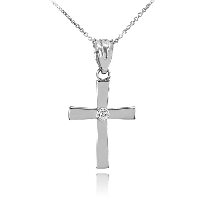 Polished White Gold Diamond Cross Charm Pendant Necklace
