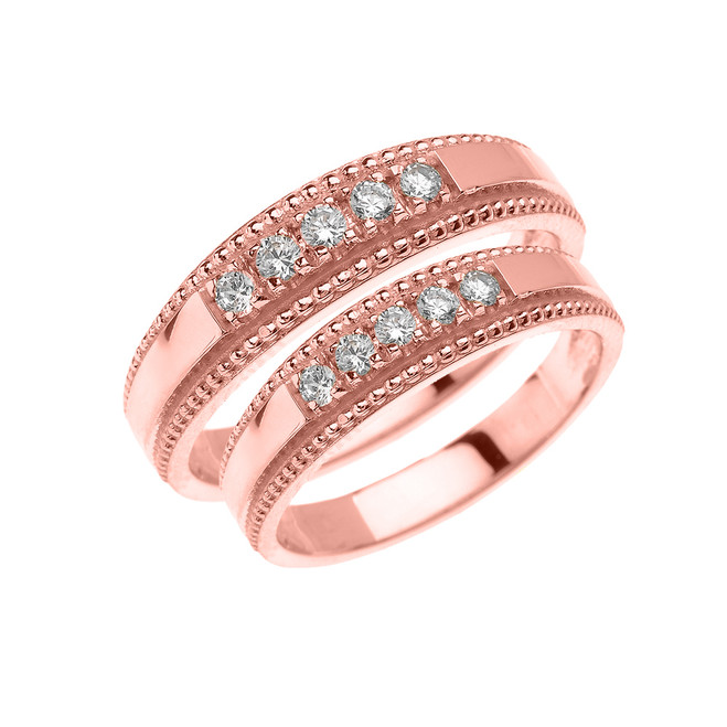 Rose Gold Elegant His and Hers Diamond Matching Wedding Bands