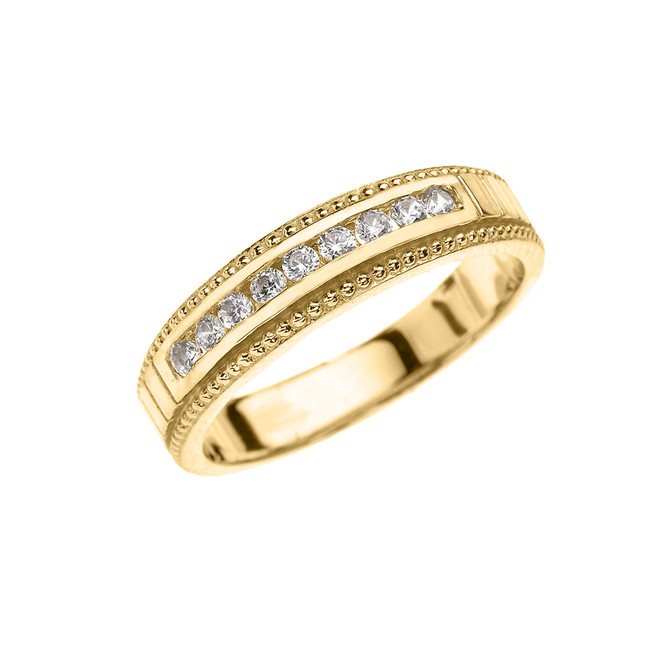 Yellow Gold Cubic Zirconia Wedding Band For Her