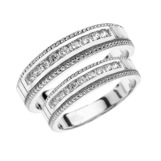 White Gold Cubic Zirconia His and Hers Wedding Bands