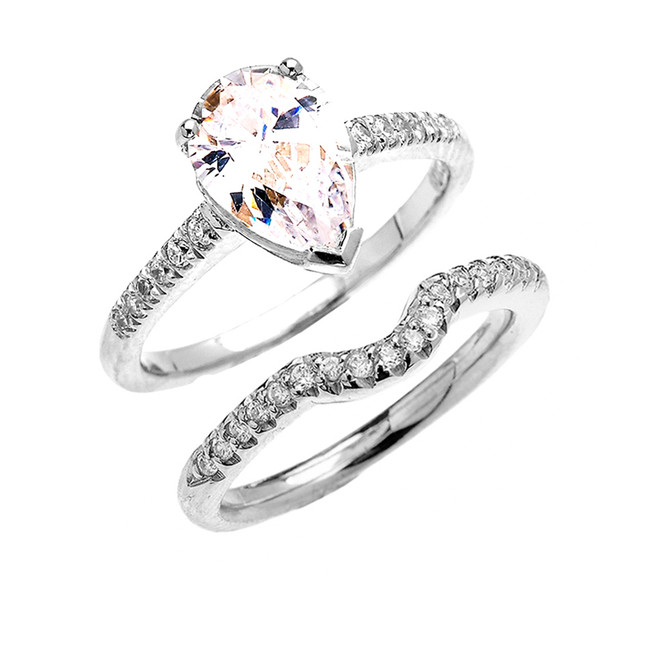 White Gold Dainty Pear Shape Cubic Zirconia Solitaire Wedding Ring Set