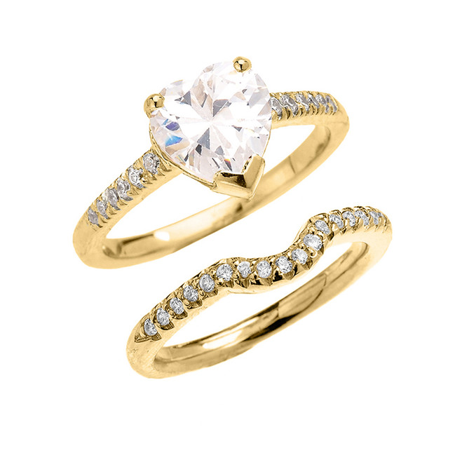 Yellow Gold Dainty Heart Shape Cubic Zirconia Solitaire Wedding Ring Set