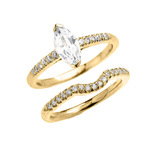Yellow Gold Dainty Marquise Cubic Zirconia Solitaire Wedding Ring Set